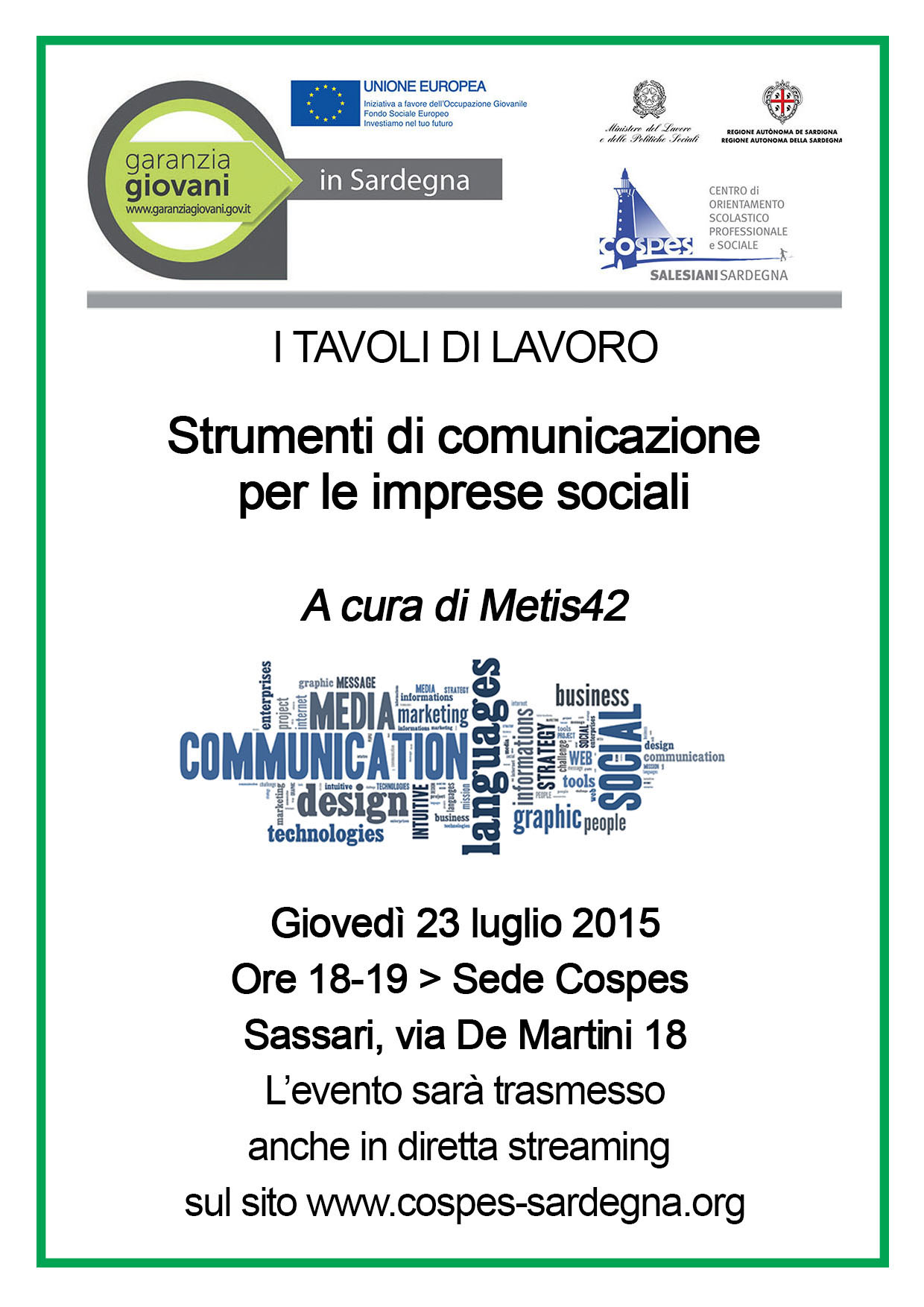 Le imprese sociali e i nuovi strumenti della comunicazione. Se ne parla il 23 luglio, anche via web!